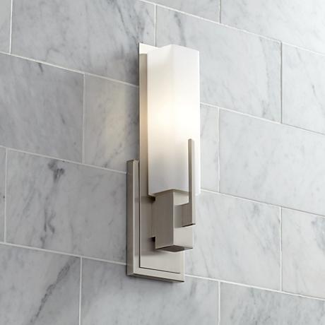 "Possini Euro Midtown 15"" High Satin Nickel Wall Sconce"