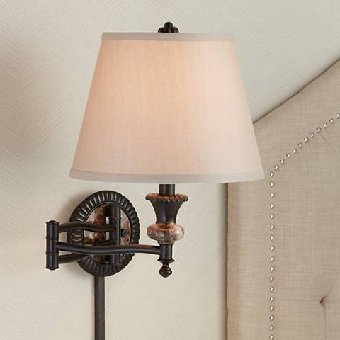 Bronze Plug-In Swing Arm Wall Lamp w/ Faux Marble Backplate