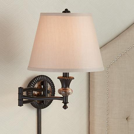 Faux Marble Backplate Bronze Plug-In Swing Arm Wall Lamp