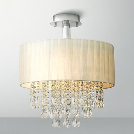 Possini Euro Design Jolie Ivory and Crystal Ceiling Light