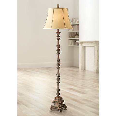 Beige French Candlestick Floor Lamp
