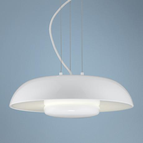 "Round Shade Downlite 15 3/4"" Wide White Pendant Light"