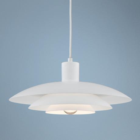 "Three-Tier Shade Downlite 14"" Wide White Pendant Light"