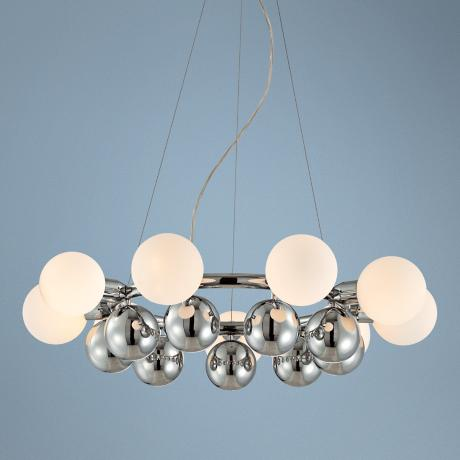 "Glass Spheres 27"" Wide Stainless Pendant Chandelier"