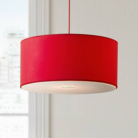 "Possini Euro Design Red Shade 15 3/4"" Wide Pendant Light"