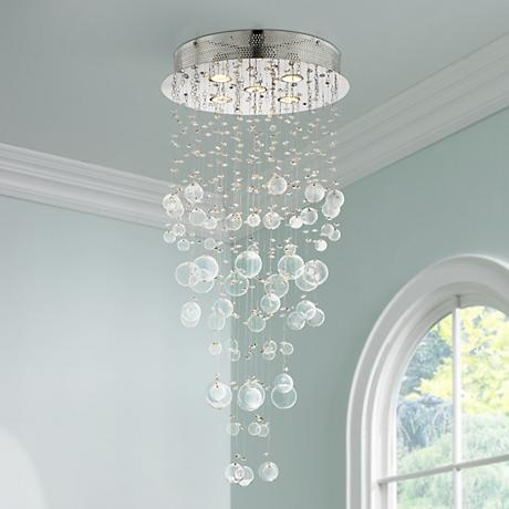"Chrome and Glass Spheres 39 1/4"" High Halogen Ceiling Light"