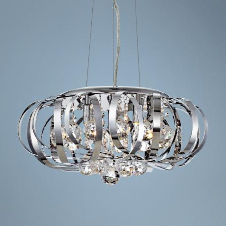 "Steel Ribbons Modern Crystal 15"" Wide Pendant Chandelier"