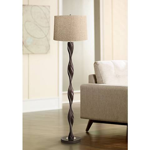 Tan Woven Twist Floor Lamp