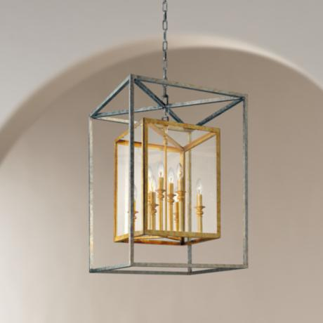 Morgan 8 Light 21 Quot Wide Gold And Silver Leaf Pendant Light