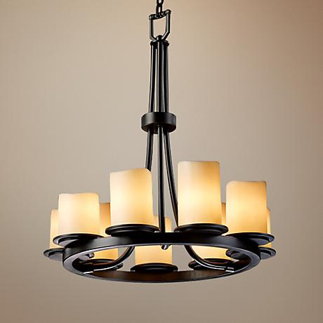 9 Light Ring Black & Creme Faux Candle Chandelier U1143