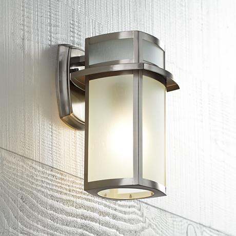 Brushed Nickel Frosted Glass 11 1 4 Quot High Outdoor Wall Light