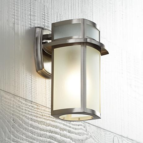 Brushed nickel frosted glass 11 1 4 high outdoor wall light u1390 lamps plus for Contemporary exterior wall lights