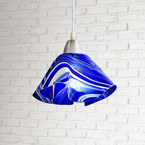 "Jezebel Radiance™ Lily 8"" Wide Blue and White Mini Pendant"