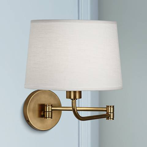 Wall Lamps With Plug : Robert Abbey Koleman Brass Plug-In Swing Arm Wall Lamp - #U2414 Lamps Plus