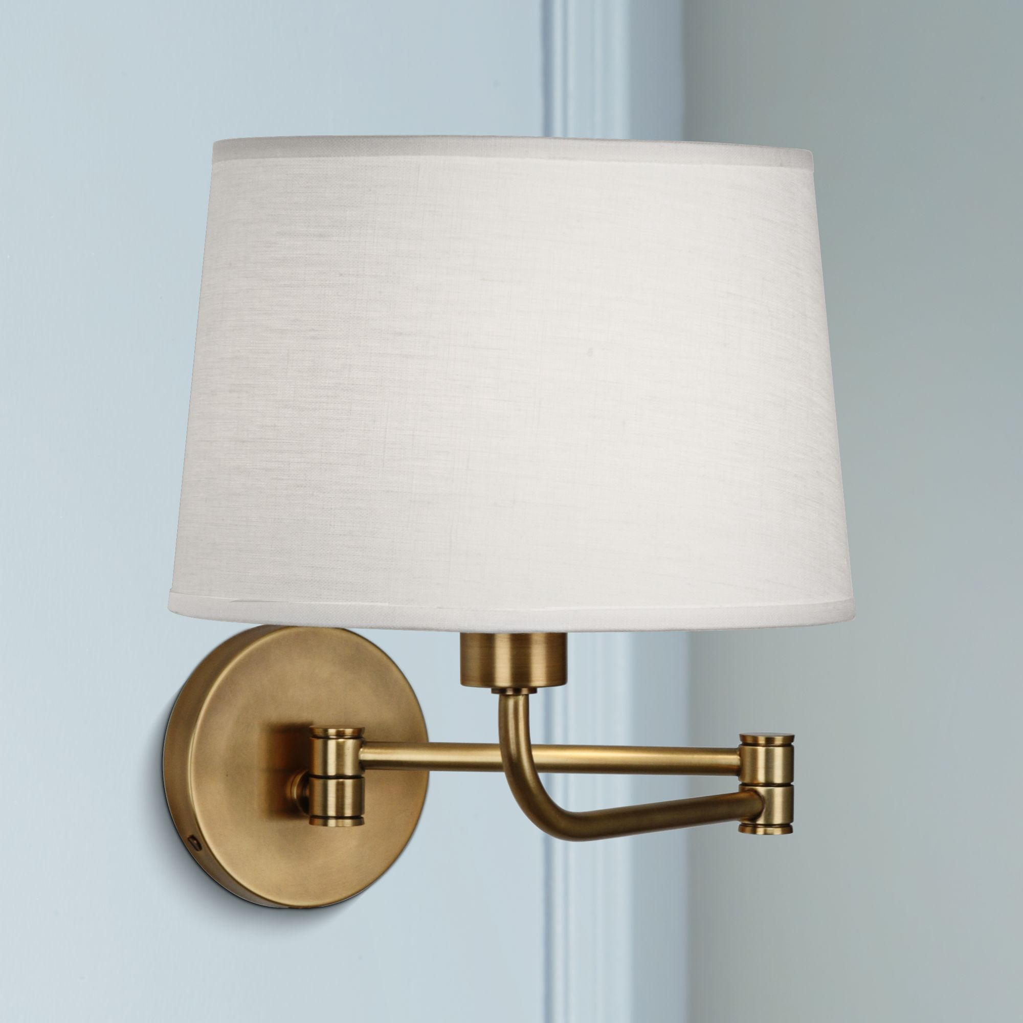 robert abbey koleman brass plugin swing arm wall lamp
