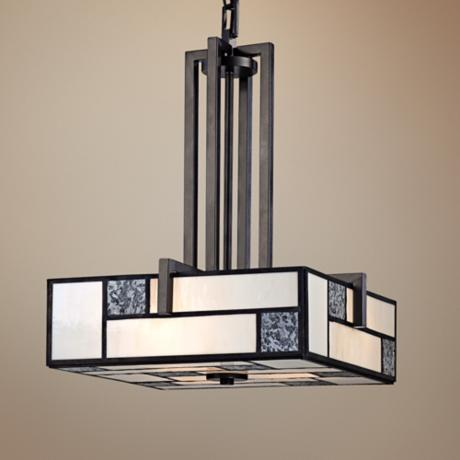 "Bradley Charcoal Finish Art Glass 16 1/2"" Wide Pendant Light"