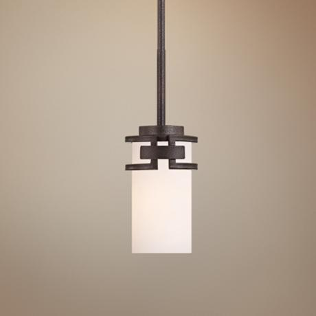 Del Ray Bronze Finish White Opal Glass Mini Pendant Light