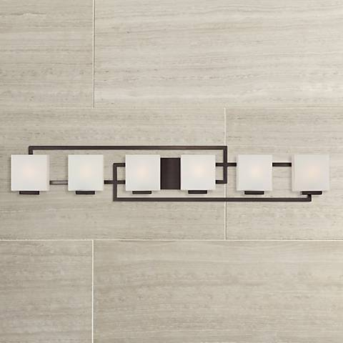 "Lighting on the Square Bronze 45"" Wide Bath Wall Light"