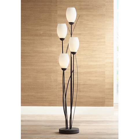 Black metal and white glass tulip 4 light floor lamp for Glass lantern floor lamp