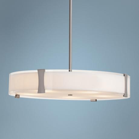 "Tara Opal Glass and Brushed Steel 24"" Wide Pendant Light"