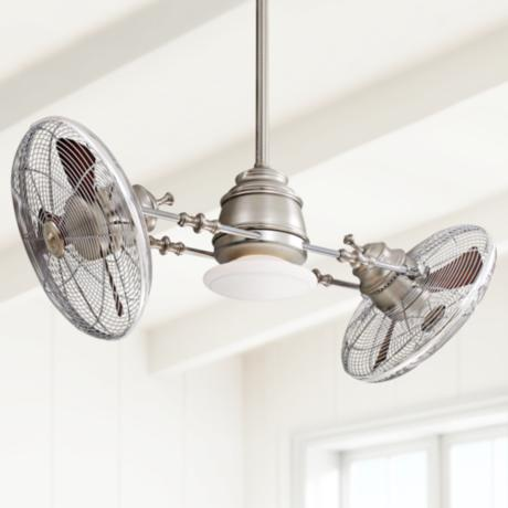 Minka Aire Vintage Gyro Brushed Nickel/Chrome Ceiling Fan