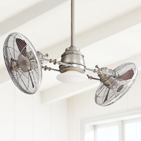 Minka Aire Vintage Gyro Brushed Nickel Chrome Ceiling Fan