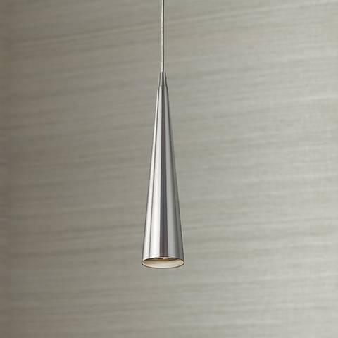 "Sliver 12"" High Satin Nickel Mini Pendant Light"