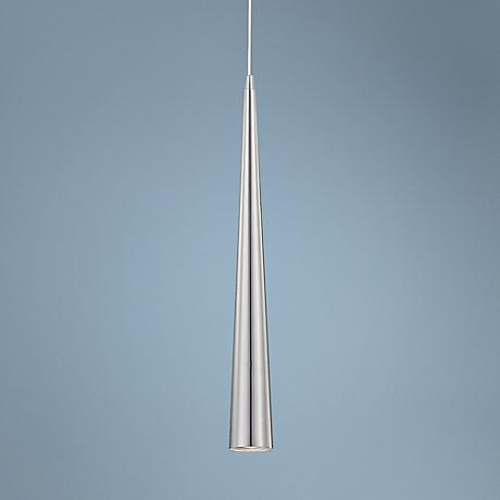 "Sliver 24"" High Satin Nickel Mini Pendant Light"