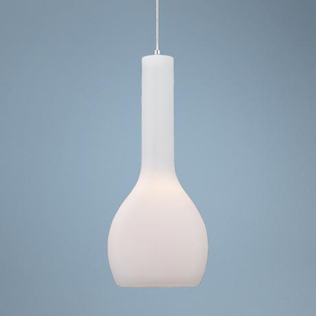"Sirro Large 20"" High Chrome and White Glass Pendant Light"