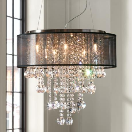 "Brushed Nickel Black Shade 22"" Wide Crystal Chandelier"