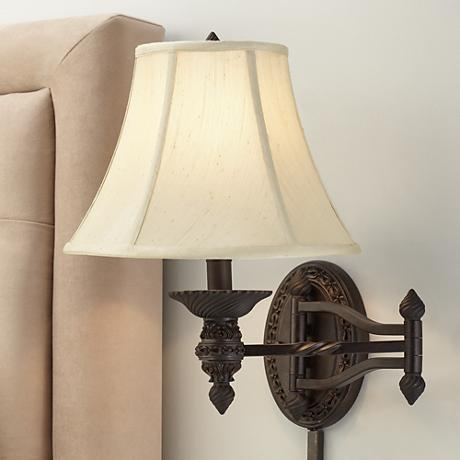 Godia Bronze Oval Plug-In Swing Arm Wall Lamp