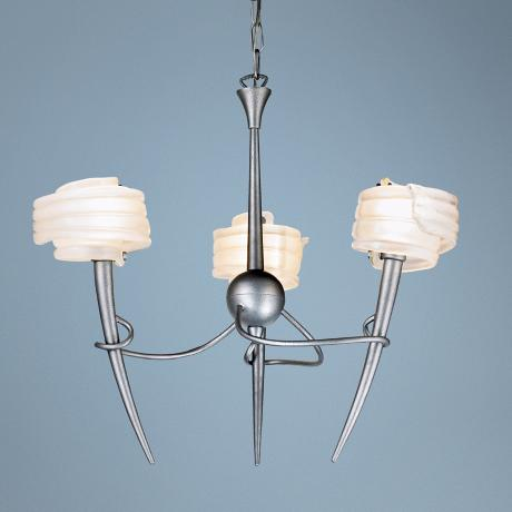 "Viola 25"" Wide Frosty Glass and Cracked Silver Chandelier"