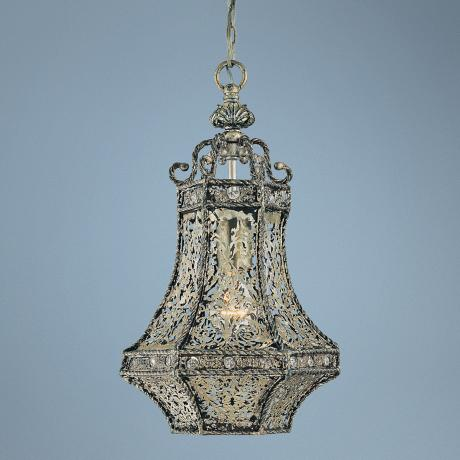 "Bellini 16"" High Gothic Silver Lantern Pendant Light"