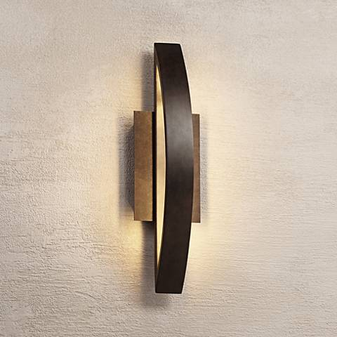 Possini Euro Coppered Arch Indoor - Outdoor LED Wall Sconce ...