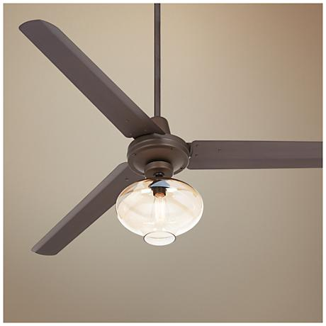 "60"" Casa Turbina Amber Glass - Bronze Ceiling Fan"