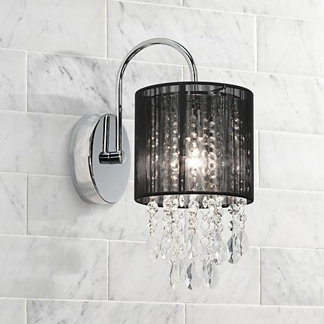 "Black Line Shade 12"" High Chrome Crystal Wall Sconce"