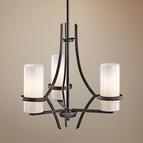 Kichler Beckett Anvil Iron White Glass 3-Light Chandelier