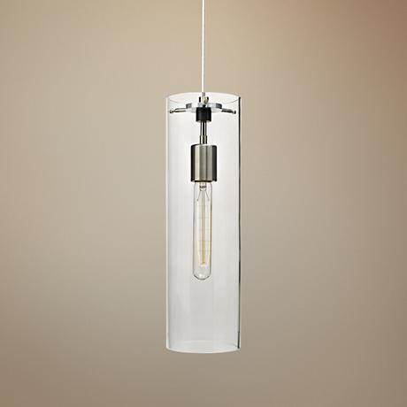 "Tech Lighting Beacon 5""W Clear Satin Nickel Mini Pendant"