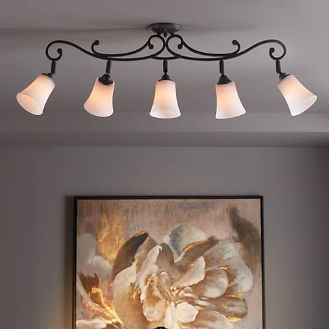 White Painted Glass 5-Light Scroll Track Fixture