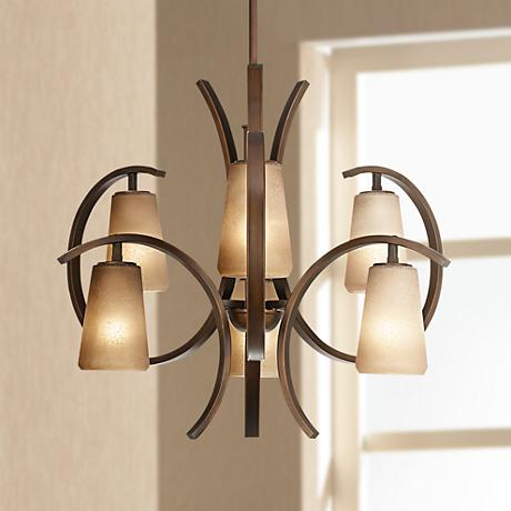 "Contemporary Curved 6-Light 30"" Wide Iron Chandelier"