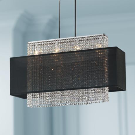 "Crystal Strands 33"" Wide Large Black Chandelier Pendant"