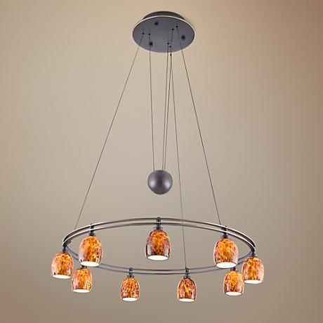 Holtkoetter Bronze 9-Light Sunset Glass Chandelier