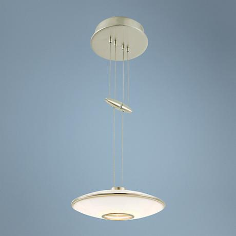 Holtkoetter Satin Nickel Opalite Glass Mini Pendant Light
