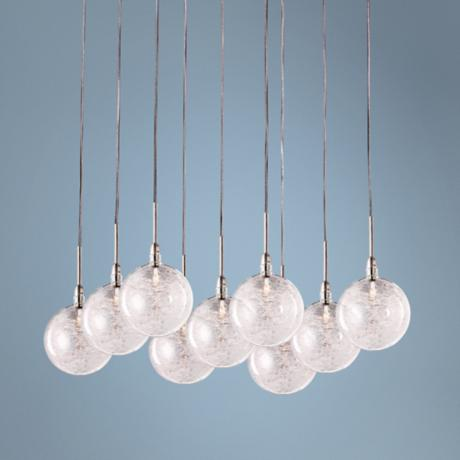 Starburst Satin Nickel Threaded Glass 9-Light Pendant