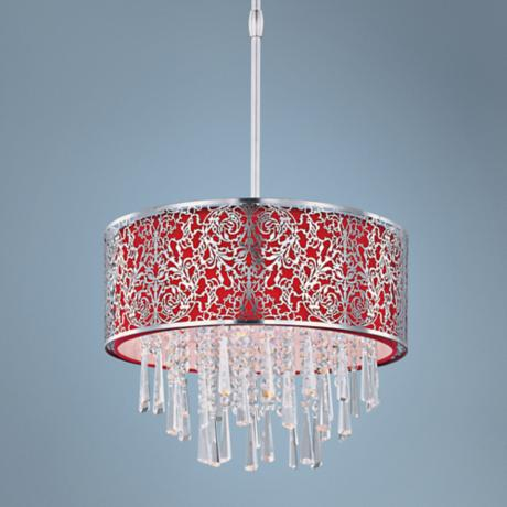 "Maxim Rapture 16"" Wide Red and Satin Nickel Pendant Light"