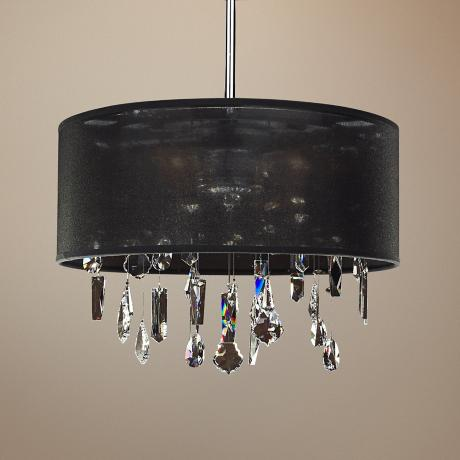 "Around Town Crystal and Black 15"" Wide Pendant Chandelier"