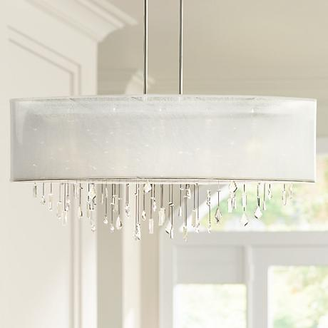 "Lifestyles Crystal and White 45"" Wide Pendant Chandelier"