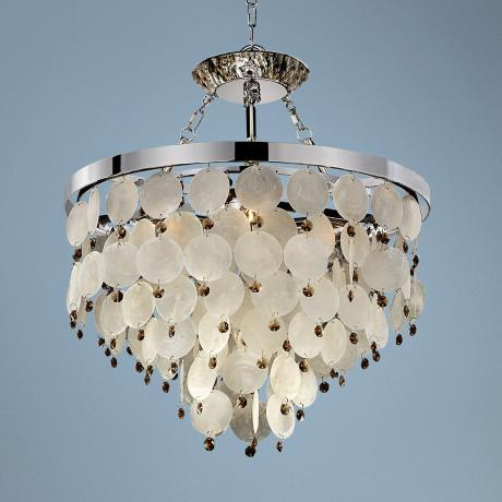 "Island Paradise Capiz and Topaz 19"" Wide Pendant Chandelier"