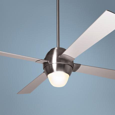 "46"" Modern Fan Gusto Bright Nickel Ceiling Fan with Light"