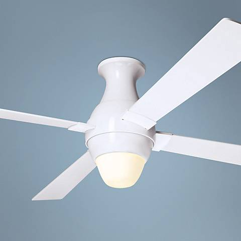 "56"" Modern Fan Gusto White Hugger Ceiling Fan with Light Kit"
